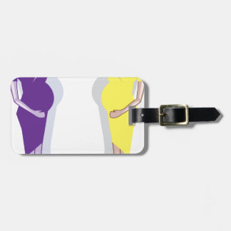 Pregnant Woman vector Luggage Tag