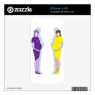 Pregnant Woman vector Skins For The iPhone 4
