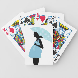 Pregnant Woman with Polka Dot Umbrella Baby Blue Bicycle Playing Cards