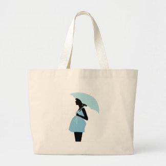Pregnant Woman with Polka Dot Umbrella Baby Blue Large Tote Bag
