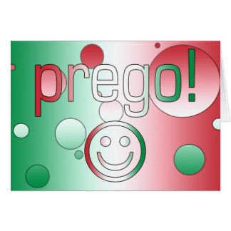 Prego! Italy Flag Colors Pop Art Greeting Card
