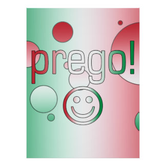¡Prego! La bandera de Italia colorea arte pop Póster