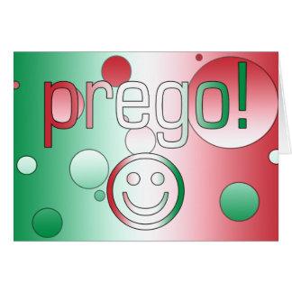 ¡Prego! La bandera de Italia colorea arte pop Tarjeta De Felicitación
