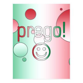 ¡Prego! La bandera de Italia colorea arte pop Tarjeta Postal