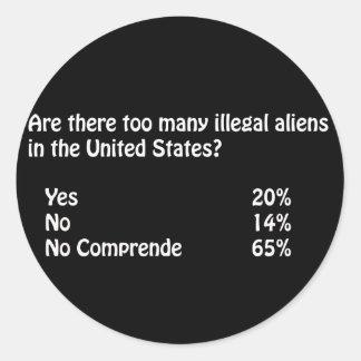 Pregunta respuesta divertidas de la inmigración pegatina redonda