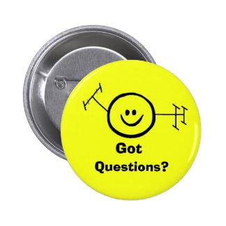Preguntas conseguidas botón feliz del jamón pin redondo de 2 pulgadas