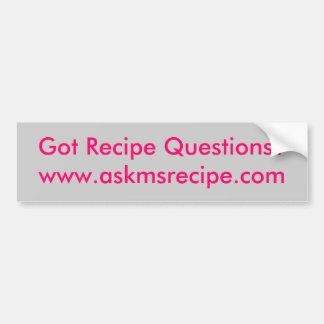 ¿Preguntas conseguidas de la receta www askmsreci Etiqueta De Parachoque