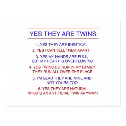 Preguntas de los gemelos idénticas postal