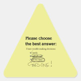 Preguntas indecisas de la opción múltiple pegatina triangular