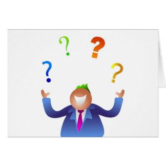 Preguntas que hacen juegos malabares tarjeta de felicitación