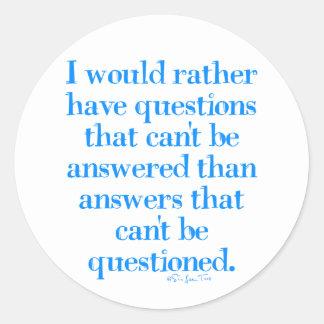 Preguntas y respuestas pegatina redonda