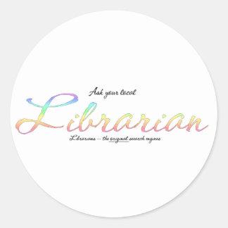 Pregunte a bibliotecario pegatina redonda