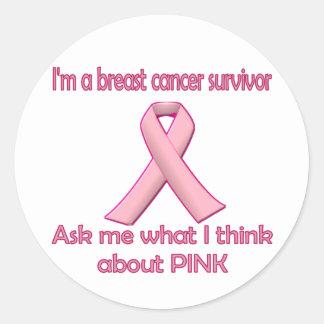 ¡Pregunte a superviviente del cáncer de pecho Pegatina Redonda