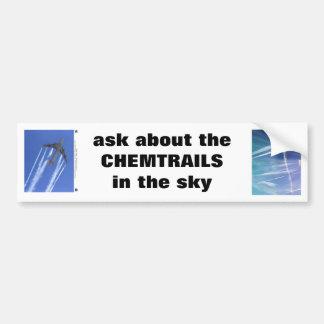 pregunte por camiseta del mensaje del CHEMTRAILS Pegatina De Parachoque