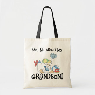 Pregunte por mis camisetas y regalos del nieto bolsa tela barata