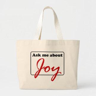 Pregúnteme acerca de alegría bolsa tela grande