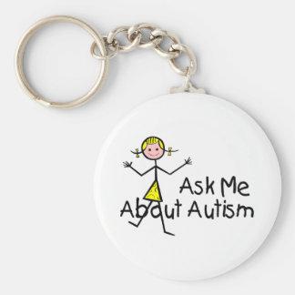 Pregúnteme acerca de autismo llavero redondo tipo pin