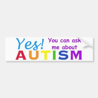Pregúnteme acerca de autismo pegatina para auto
