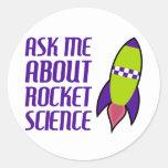 Pregúnteme acerca de la ingeniería espacial etiquetas redondas