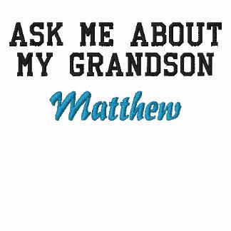 Pregúnteme acerca de mi abuelo orgulloso del nieto camiseta polo bordada