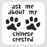 Pregúnteme acerca de mi con cresta chino calcomania cuadradas personalizada