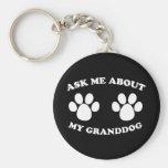 Pregúnteme acerca de mi Granddog (oscuro) Llaveros Personalizados