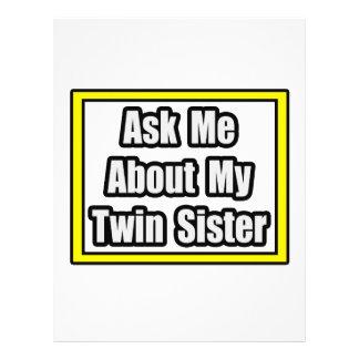 Pregúnteme acerca de mi hermana gemela tarjeta publicitaria