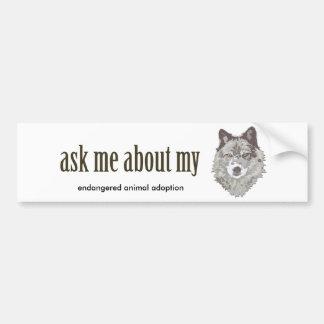 Pregúnteme acerca de mi LOBO… Pegatina De Parachoque