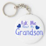 ¡Pregúnteme acerca de mi nieto! Llavero Personalizado