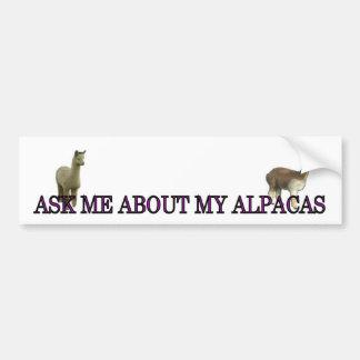 Pregúnteme acerca de mis alpacas pegatina para auto