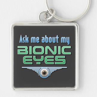 Pregúnteme acerca de mis ojos Bionic Llavero Cuadrado Plateado