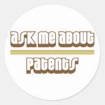 Pregúnteme acerca de patentes etiqueta redonda