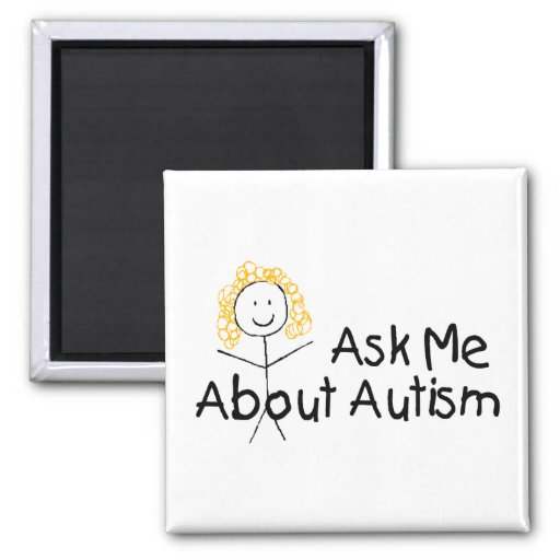 Pregúnteme acerca del autismo (chica 1) imán cuadrado