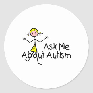 Pregúnteme acerca del autismo (chica 2) pegatina redonda