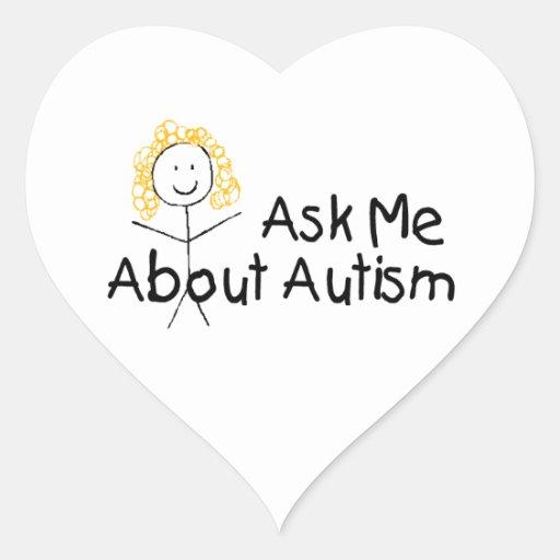 Pregúnteme acerca del autismo (el chica) pegatina en forma de corazón