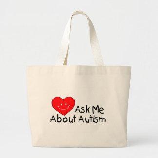 Pregúnteme acerca del autismo (el corazón) bolsa tela grande