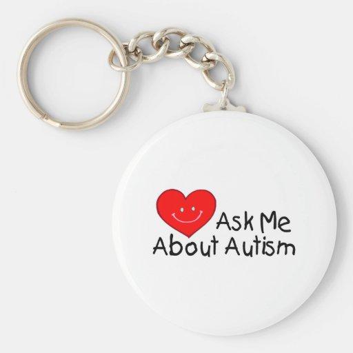 Pregúnteme acerca del autismo (el corazón) llavero redondo tipo pin