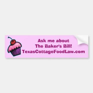 Pregúnteme acerca del Bill del panadero - rosa y B Pegatina De Parachoque