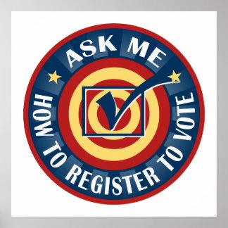 Pregúnteme cómo registrarme para votar póster