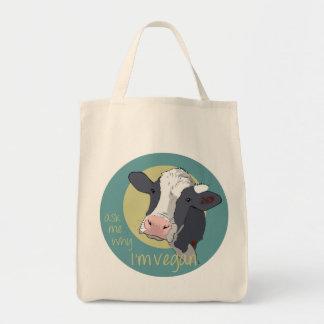 Pregúnteme porqué soy vegano bolsa tela para la compra