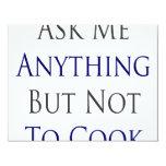 Pregúnteme todo menos no cocinar invitación personalizada