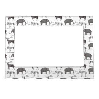 Prehistoric Animals - Woolly Mammoth and Megaceros Photo Frame Magnet