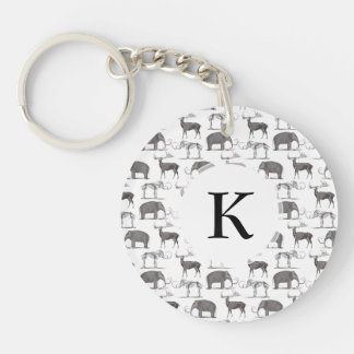 Prehistoric Animals - Woolly Mammoth and Megaceros Single-Sided Round Acrylic Keychain