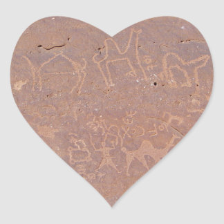 Prehistoric Carved Drawings In The Desert Heart Sticker