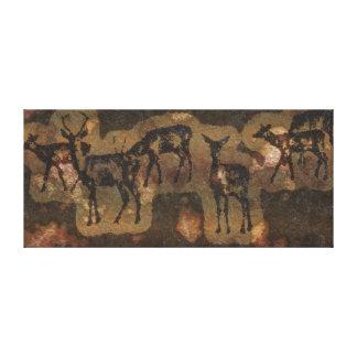 Prehistoric Cave Art-style Wildlife Red Deer Canvas Print