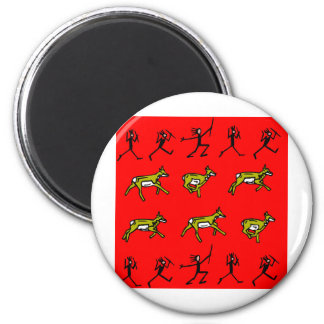 Prehistoric Cave Drawing Hunters Hunting 2 Inch Round Magnet