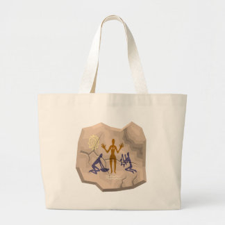 Prehistoric Cave Drawing Woman & Servants Large Tote Bag