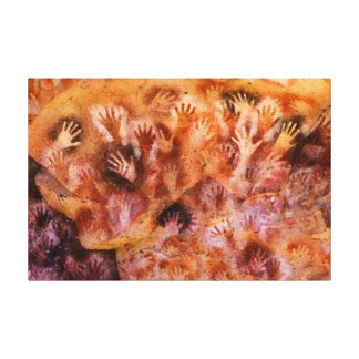 Prehistoric Cave Painting of Human Hands on Canvas