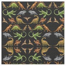 Prehistoric Dinosaur Paleo Dark Fabric
