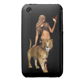 Prehistoric Fantasy Girl and Lion iPhone 3 Cover